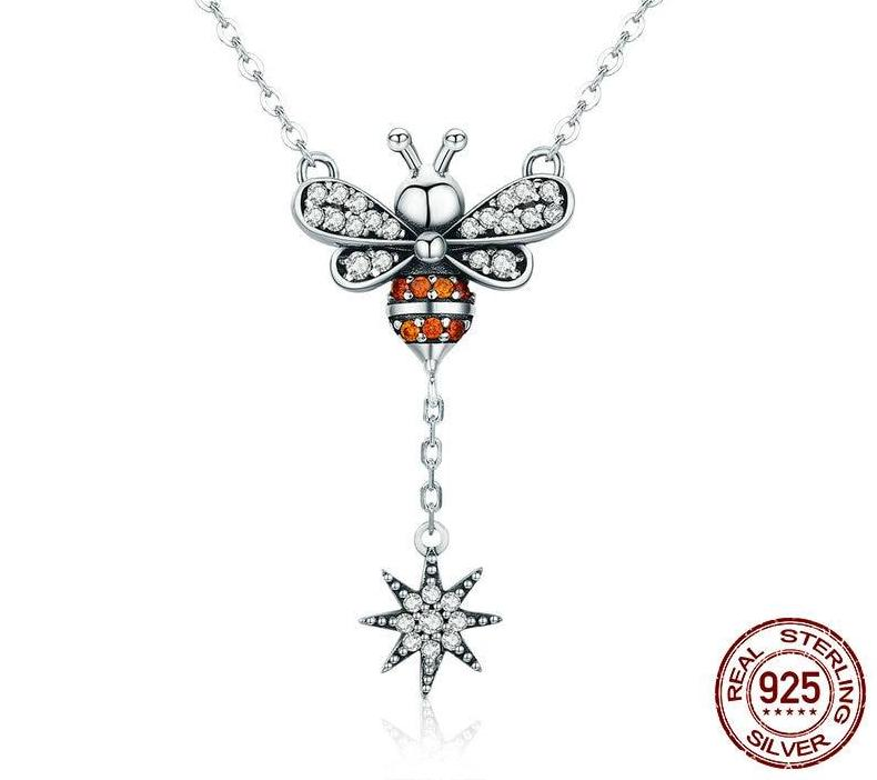 925 Sterling Silver Bee Snowflake Pendant Necklace