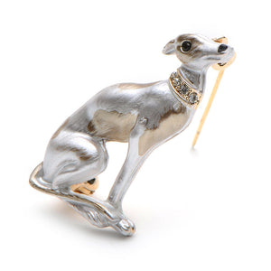 Enamel Greyhound/Whippet Brooch