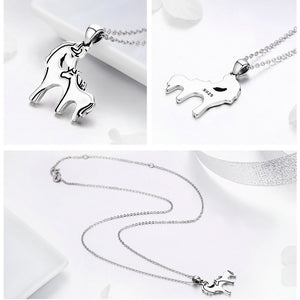 925 Sterling Silver Mother and Foal Pendant Necklace