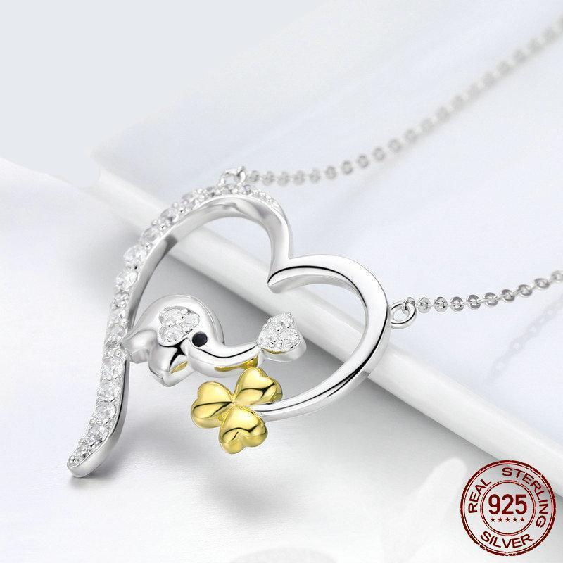 925 Sterling Silver Baby Elephant Love Heart Pendant Necklace