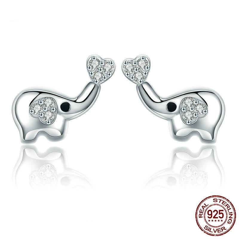 925 Sterling Silver Baby Elephant Love Heart Stud Earrings