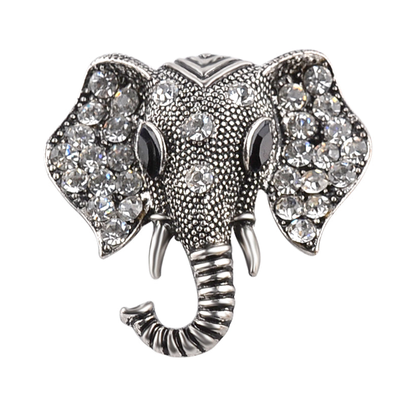 Rhinestone Encrusted Elephant Head Brooch in Silver