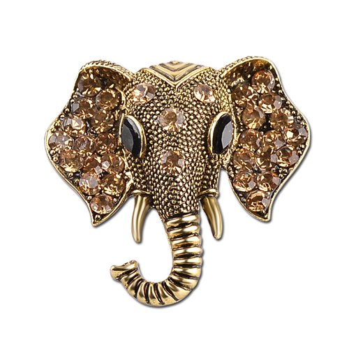 Rhinestone Encrusted Elephant Head brooch in gold