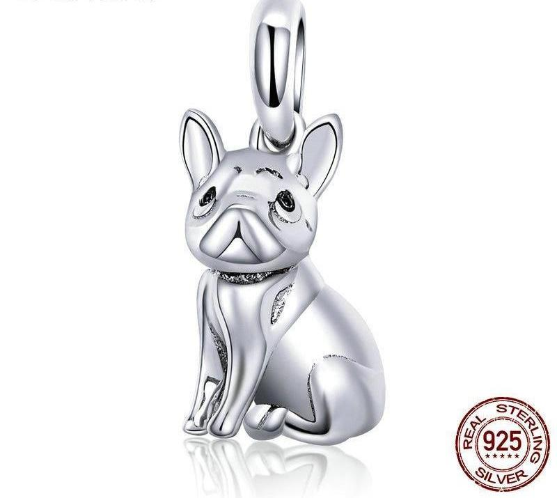 silver bulldog charm for bracelet