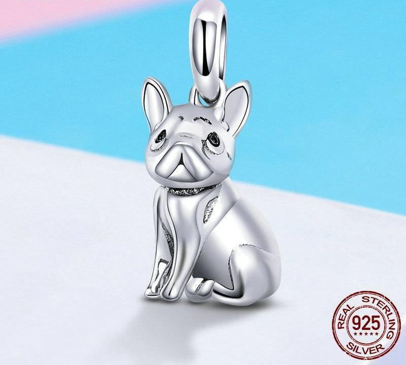 silver bulldog charm with blue background