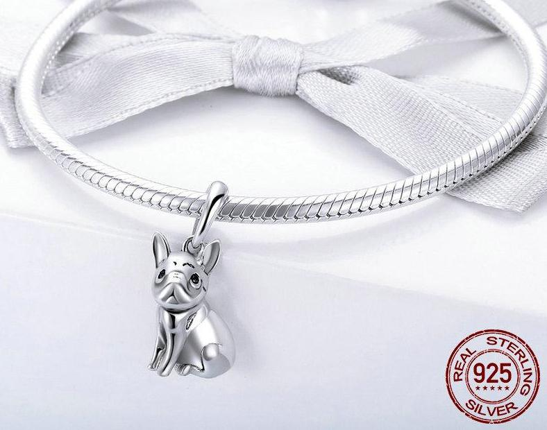 bulldog charm on a bracelet