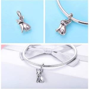 different views of bulldog bracelet charm