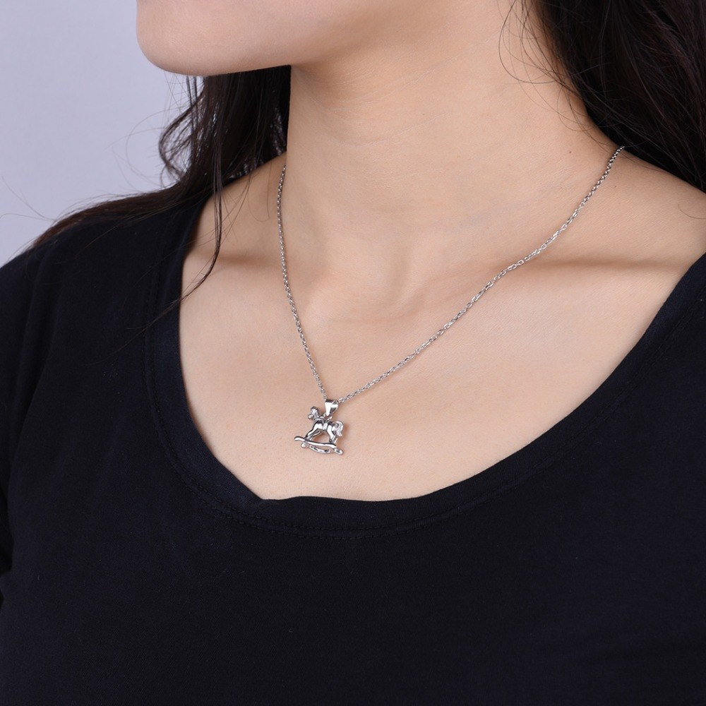 925 Sterling Silver Carousel Horse Pendant Necklace
