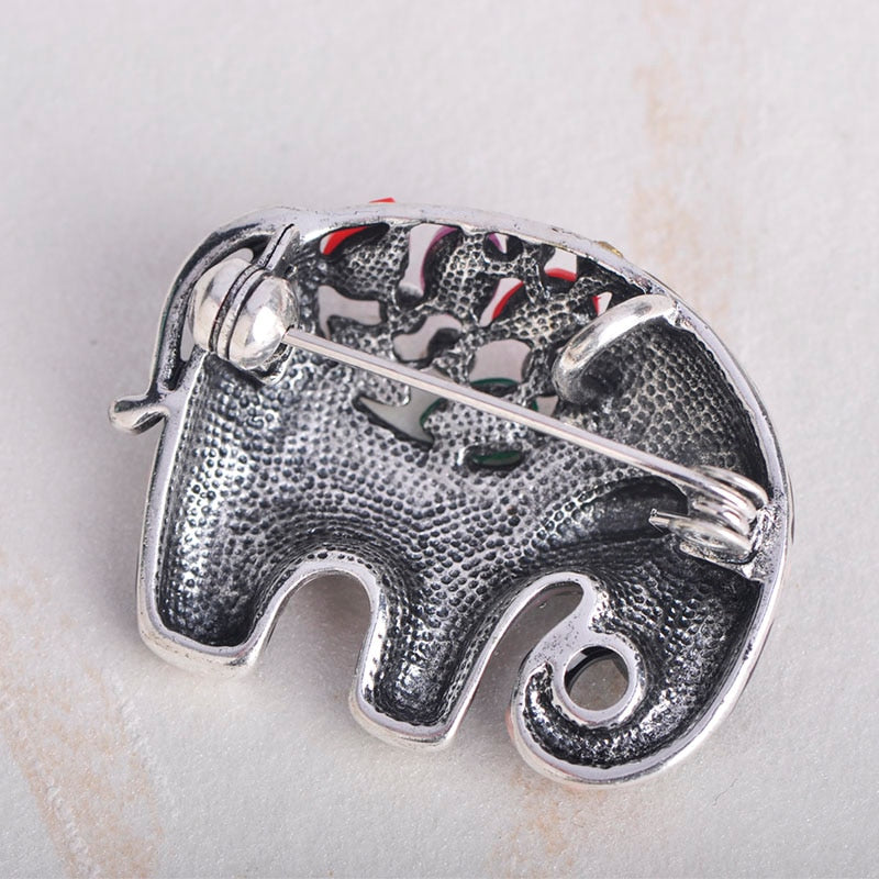 Colourful Enamel Elephant  Brooch
