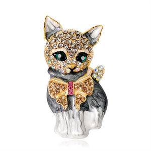 Crystal  & Enamel Cat Brooches