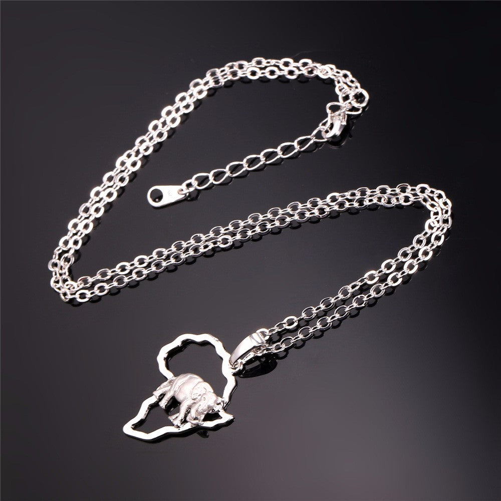 Unisex Africa Elephant Necklace