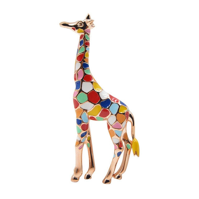 Picture of a colourful enamel giraffe brooch