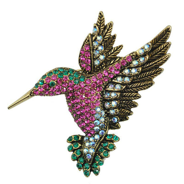 Colourful Rhinestone Humming Bird Brooch