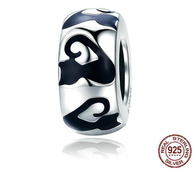 925 Sterling Silver Black Enamel  Cat Spacer Bead for Charm Bracelet