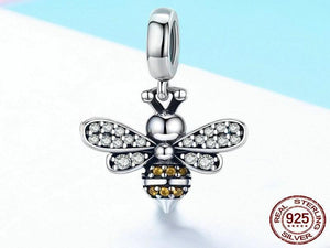 925 Sterling Silver Luminous Crystal Bee Bracelet Charm