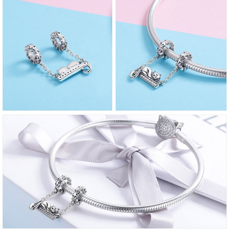 925 Sterling Silver Adorable Cat Bracelet Charm