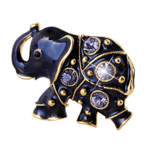 Black Elephant Rhinestone Brooch