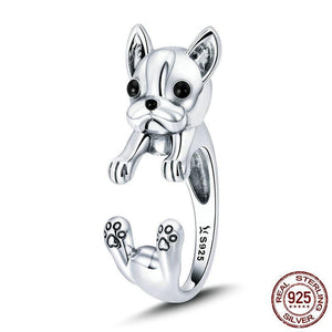 French Bulldog Finger Ring in Sterling Silver