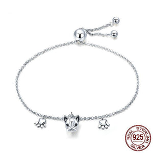 French Bulldog Footprints Bracelet in 925 Sterling Silver