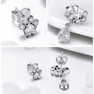 925 Sterling Silver Dazzling Cat Stud Earrings