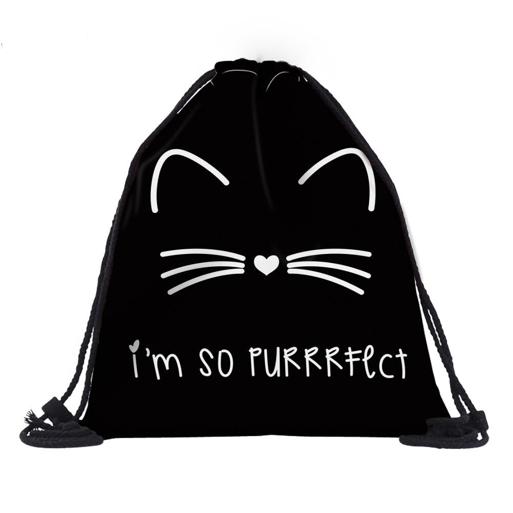 'I'm so Purrfect'  Cat 3D Printed Drawstring Bag