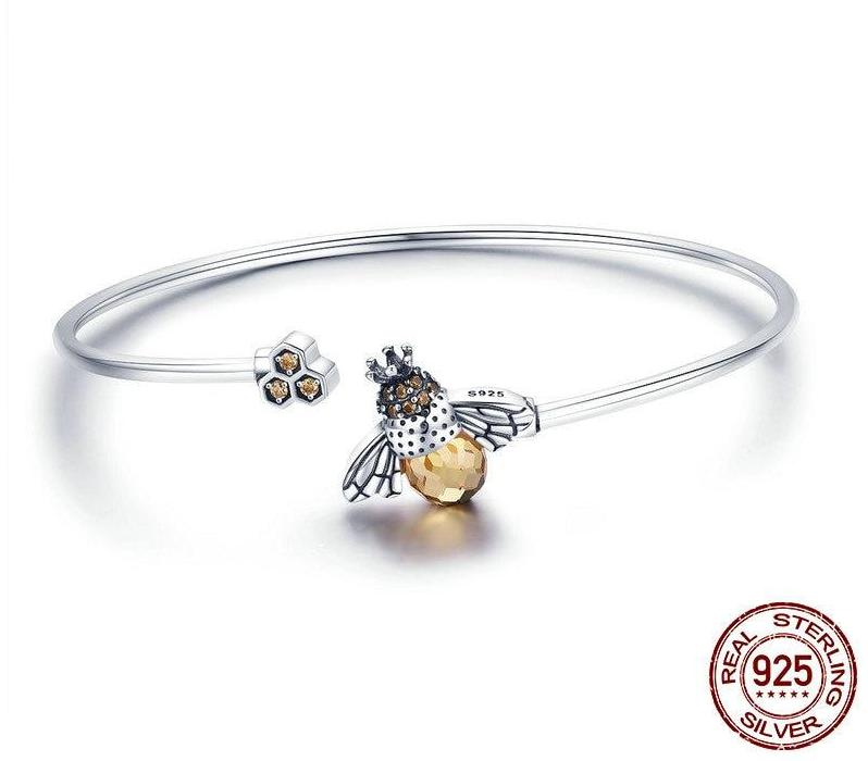 925 Sterling Silver Crystal Bee And Honeycomb Bangle