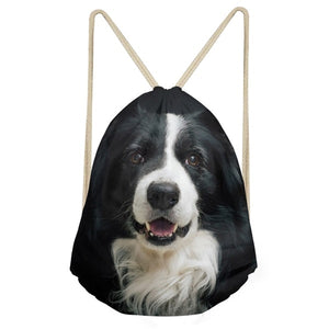 Border Collie  Casual Unisex Drawstring Bag