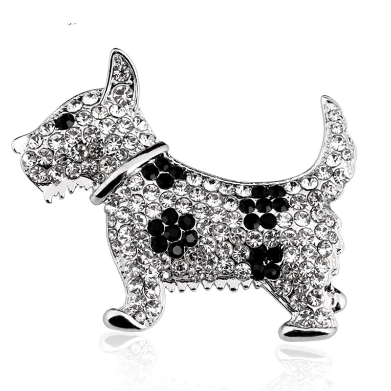 Cute Crystal Puppy Dog Brooch