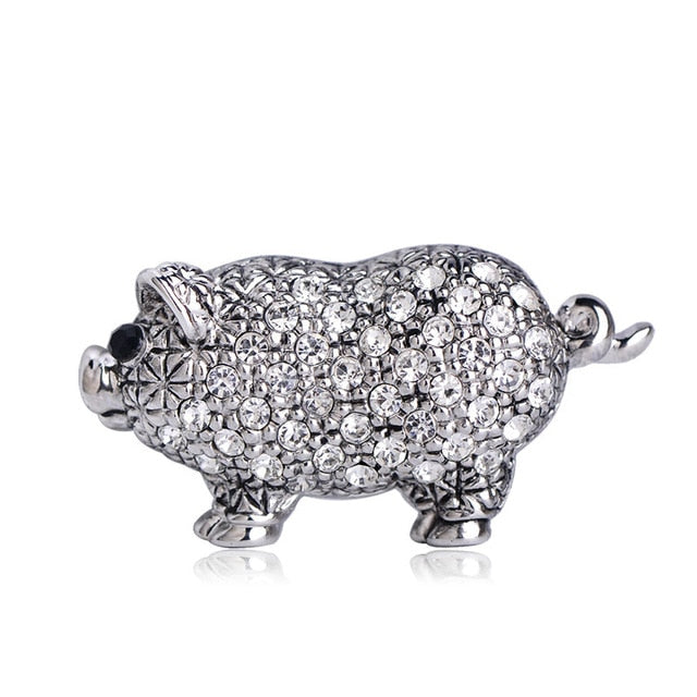 Cute Crystal Pig Brooch