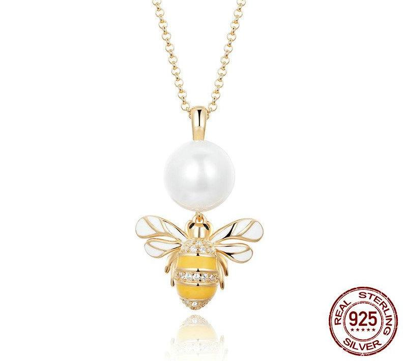 925 Sterling Silver Freshwater Pearl Bee Pendant Necklace