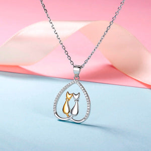 925 Sterling Silver and Cubic Zirconia Cat Pendant Necklace