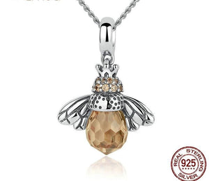 925 Sterling Silver Wing Honey Bee Pendant Necklace