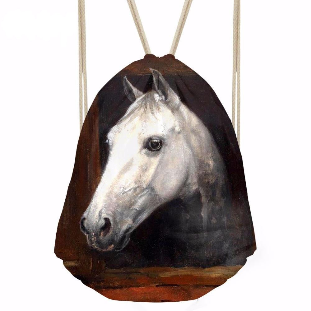 3D Horse Print Drawstring Backpack