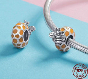 925 Sterling Silver Honeycomb & Bee Spacer Bead