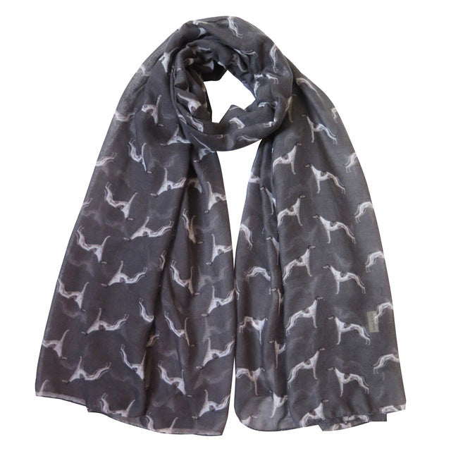 Greyhound/Whippet Print Women's Scarf