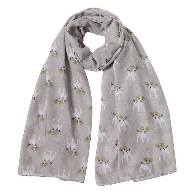 Jack Russell Terrier Dog Print Women's Scarf