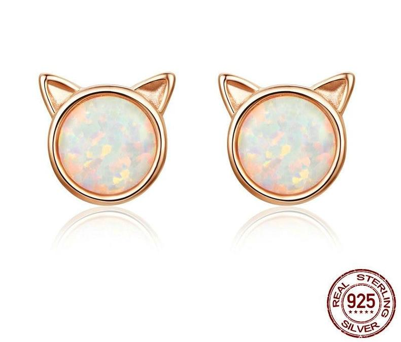 925 Sterling Silver Rose Gold Plated Cute Cat Ears Stud Earrings with opal centre