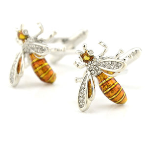 Bee cufflinks inlaid with rhinestones on the wings