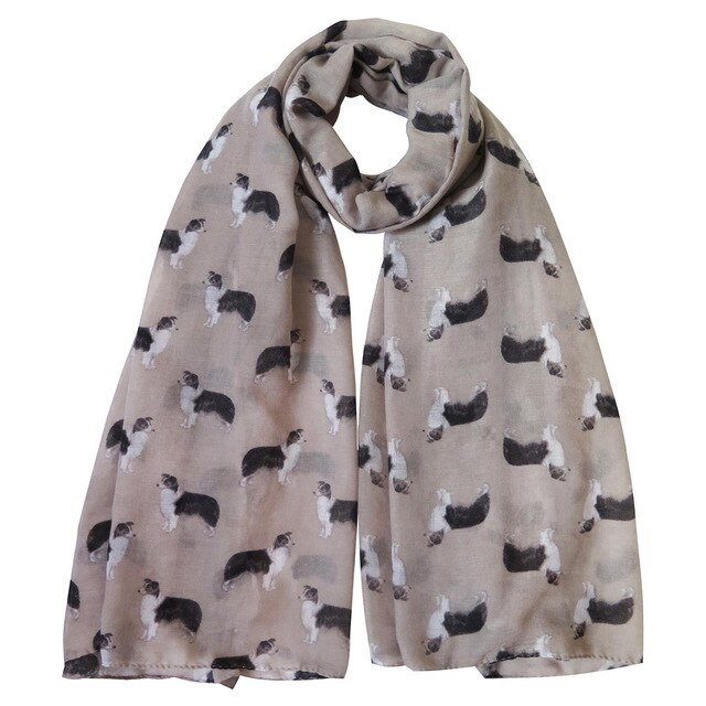 Border Collie Print Women's Scarf
