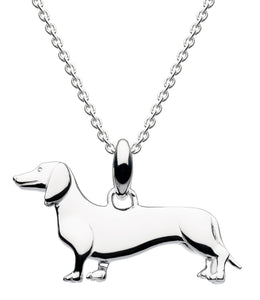 Silver Sausage Dog Pendant Necklace