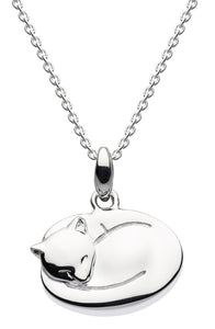 Dew Sterling Silver Sleeping Cat Necklace
