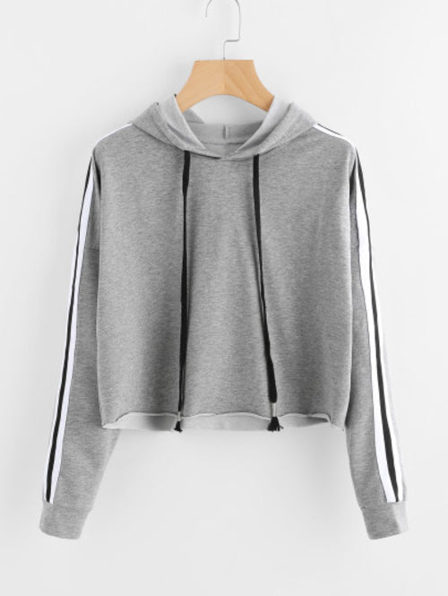 Stripe Tape Drop Shoulder Raw Hem Marled Hoodie - moove4fitness