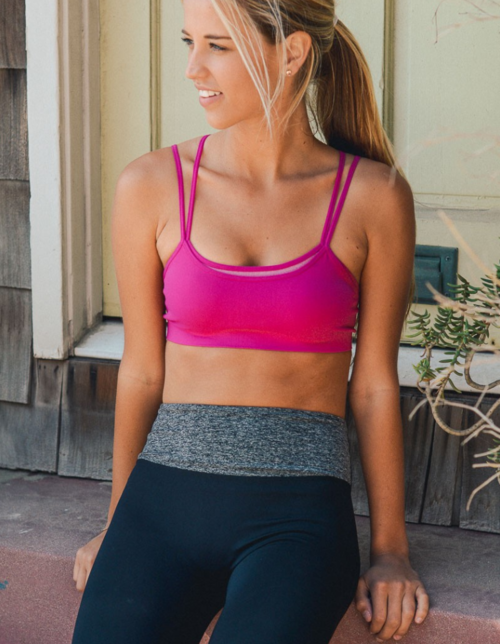 Fuchsia Double Layer Sports / Yoga Bra - moove4fitness