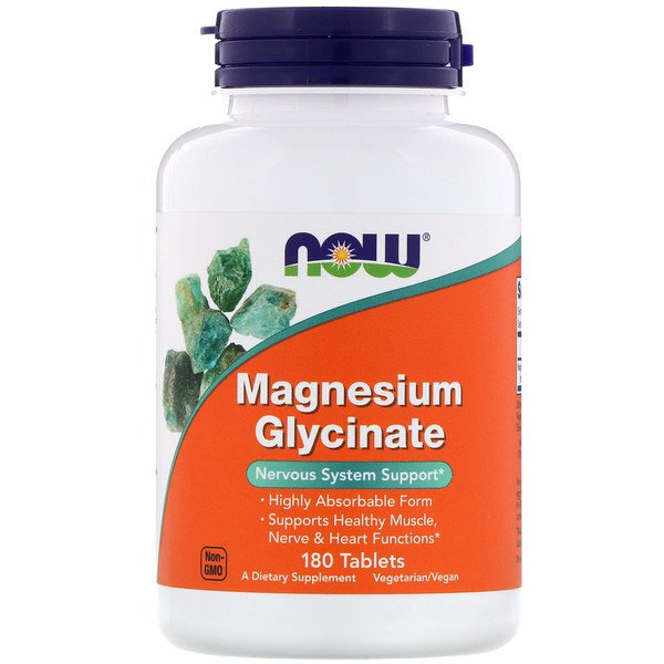 Now Magnesium Glycinate, 180 Tabletter