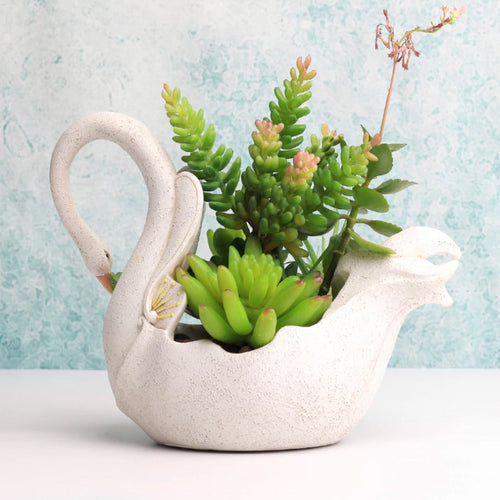 Swan Flower Ornament Pot