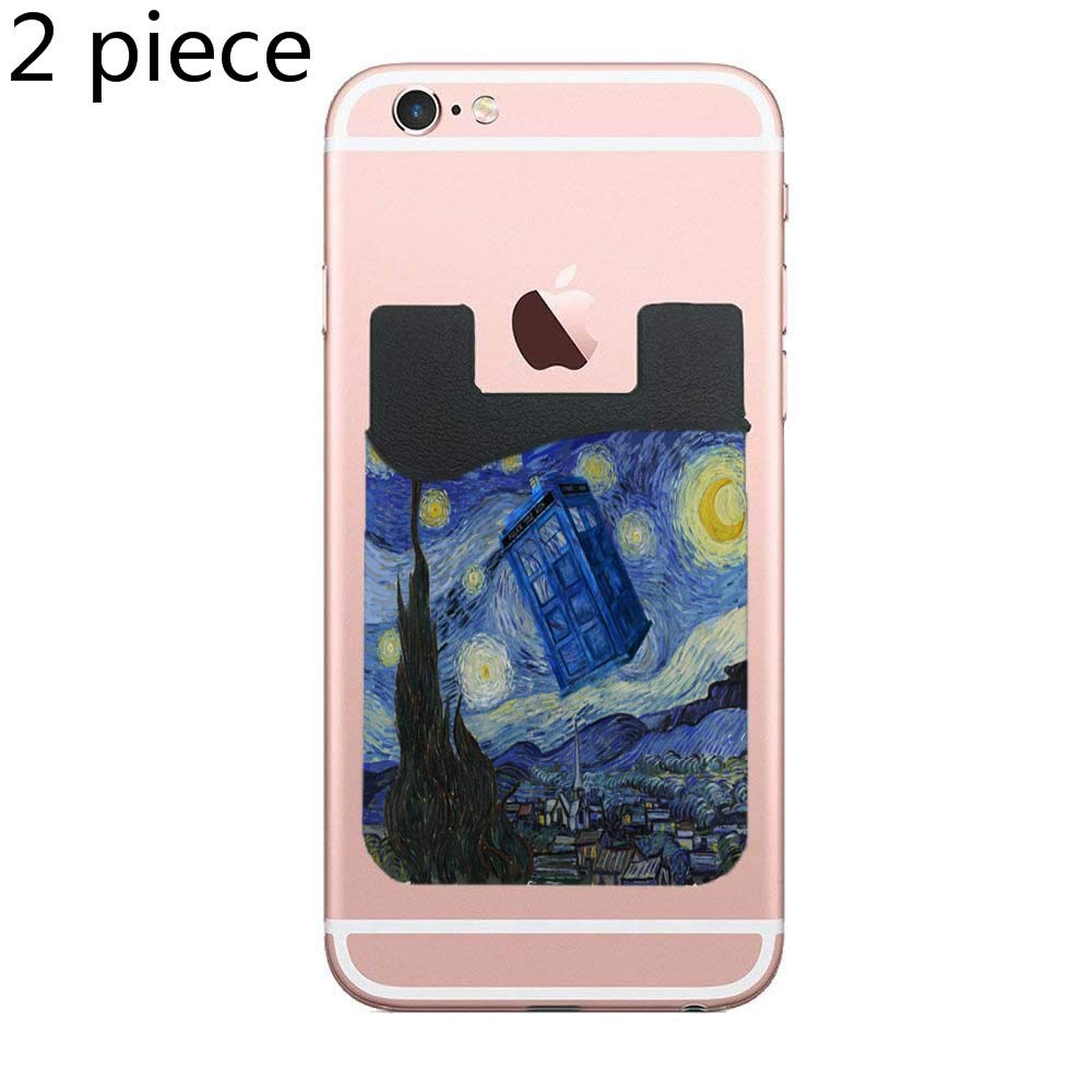 new product efff1 c1841 Tardis Starry Night Adhesive Silicone Cell Phone Wallet/Card Holder for  iPhone, Android, Samsung Galaxy, Most Smartphones - 2 Piece