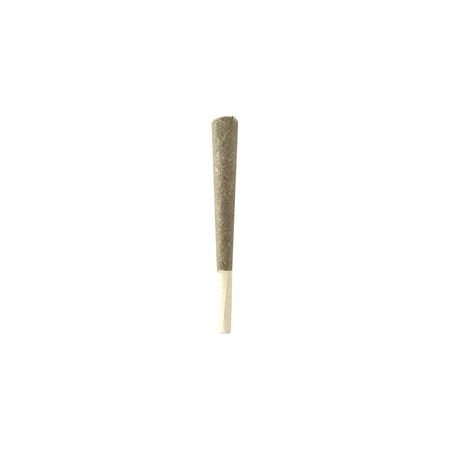 Half gram pre-rolled dried cannabis joint on white background.