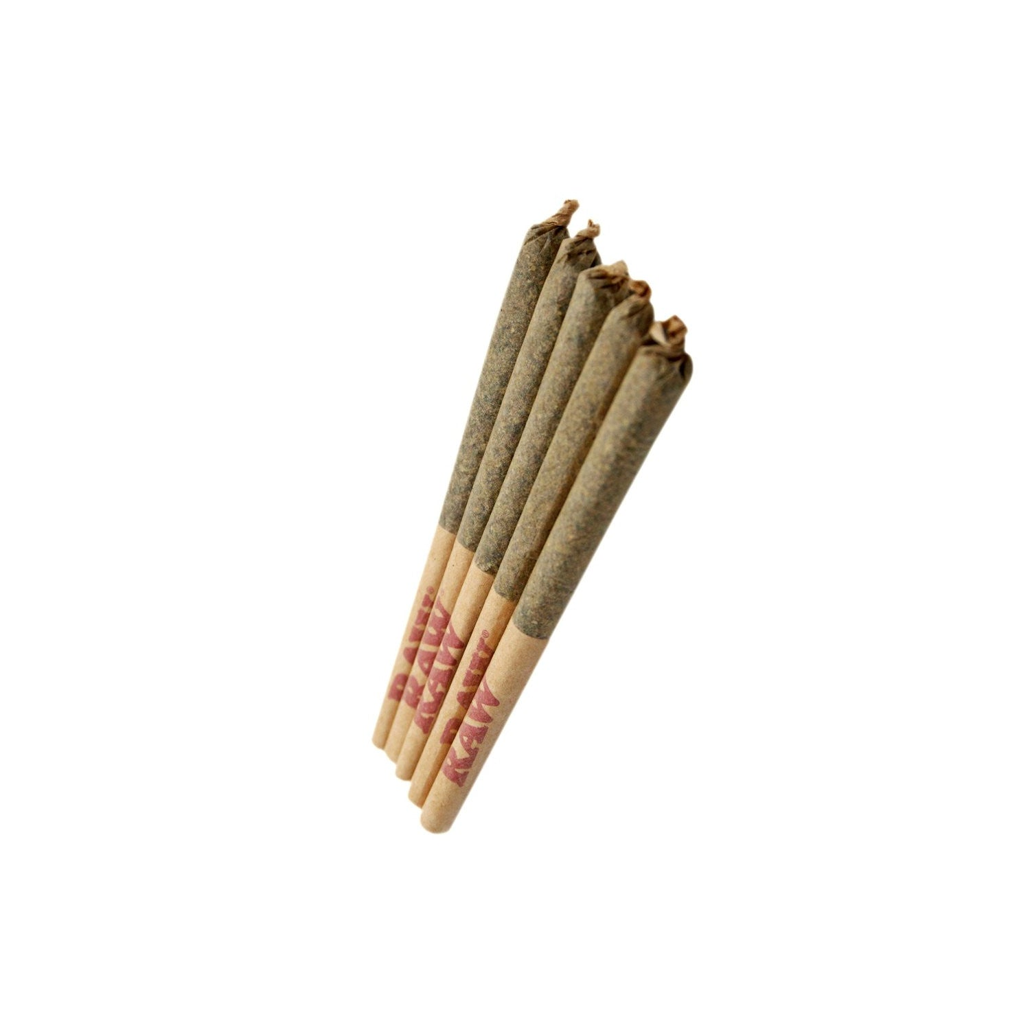 5 pre-rolled dried cannabis joints on a white background.