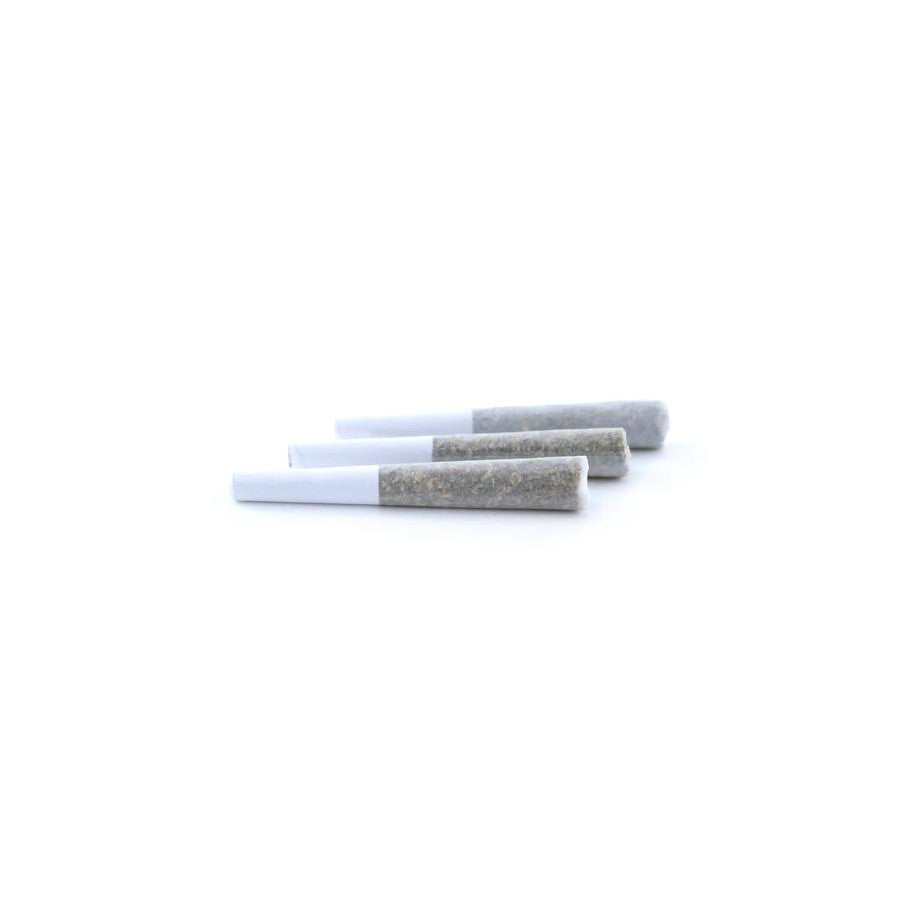 3 pre-rolled half-gram joints on white background.