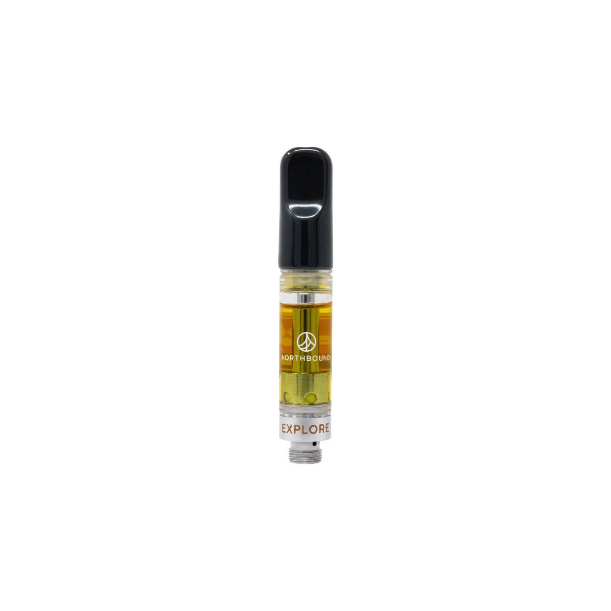 510 thread vape cartridge containing gold coloured concentrate and black mouthpiece on a white background.